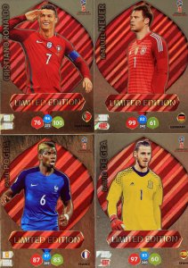4 karty  Limited Edition Ronaldo Neuer Pogba De Gea  - WORLD CUP Russia 2018