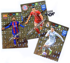 3 karty  LIMITED EDITION   FIFA 365 2018  - MESSI LEWANDOWSKI RONALDO + GRATIS  RAMKA