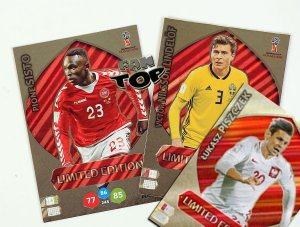 3 karty PISZCZEK + SISTO + LINDELOF -  Limited Edition - WORLD CUP Russia 2018