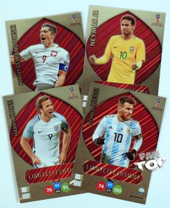 4 karty Duże XXL Limited KANE LEWANDOWSKI MESSI NEYMAR - WORLD CUP Russia 2018