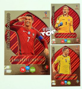 3 karty Limited Edition RONALDO XXL + BERG + SCHMEICHEL - WORLD CUP Russia 2018