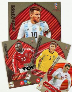4 karty Limited - MESSI XXL + PISZCZEK + SISTO + LINDELOF Limited Edition - WORLD CUP Russia 2018