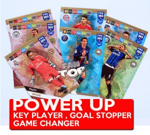 36 kart POWER UP - KOMPLET -  Goal Stopper , Defensive Rock , Key Player , Game Changer - FIFA 2019
